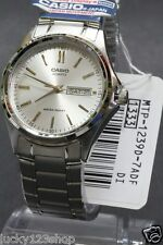 MTP-1239D-7A White Casio Men's Watches Analog Stainless Steel Band New