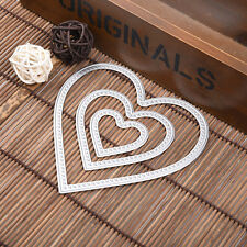 3x Heart Shape Metal Cutting Dies Stencil For Scrapbooking Paper Cards Decor DIY