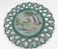 Vtg Mid-Century EPL Alcobaca Portugal Faience Majolica Lace Charger Hand Painted