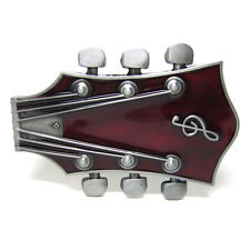 Electric Guitar Headstock Rock Music Strings Musician  Belt Buckle Country Red