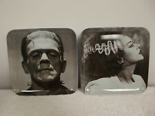 "2 Universal Monsters Halloween Frankenstein Bride 6"" Snack Trays Dishes Plates"
