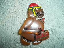 "Vintage Movable ""Drummer Soldier"" BAKELITE Brooch Pin"" FABULOUS Painted Hat"