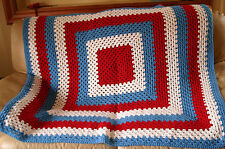 Red White Blue Granny Afghan Throw Blanket Crochet Handmade Americana - Mint