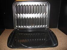 Dark Gray Blue  Enamel  Graniteware Oven Broiler / Grill Pan 16 3/8 x 12 1/2 GUC