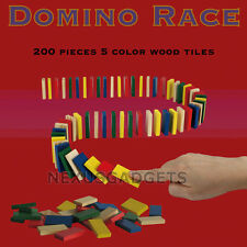 DOMINO RACE Game Set 200 Unmarked Wooden Wood Dominoes 5 Colors Kids Racing Toy
