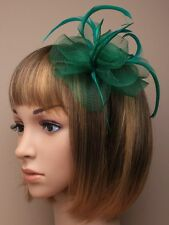 Emerald Green Net Flower and Feather Fascinator on Headband Aliceband Hair band