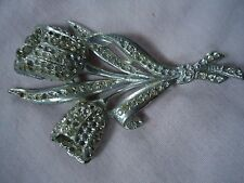 6 NICE VINTAGE ANTIQUE  ART DECO PEWTER? CLEAR RHINESTONE FLOWERS BROOCH PIN