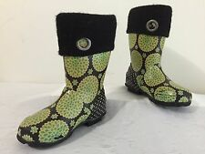 BOGS Miss Becca Dahlia Rubber Rainboots Black/Green Floral w/Black Girls Size 11
