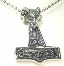 BUTW- Thor's Hammer Rams Head Necklace Stainless Steel Pendant Viking  4150E