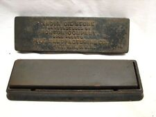 Vintage Pike Norton India Oil Whet Stone Sharpening Edge Tool Cast Iron Box/Case