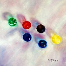 Original Oil On Canvas By Artist- Glass Marbles 2 In Sunlight - 8x8 - $95