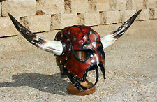 Horned Leather Viking Spectacle Helmet Fantasy Mask Armor SCA LARP Helm Norse