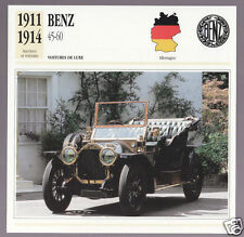 1911-1914 Benz 45-60 hp Mercedes Car Photo Spec Sheet Info French Card 1912 1913
