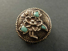 JAPANESE SILVER AND ENAMEL OJIME BEAD. FLOWER DESIGN. FOR NETSUKE CORD.