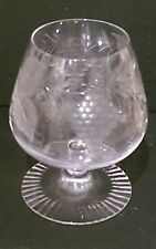 Brier Glass Etched Brandy Glass , Grapevine cut vgc