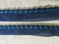 50 YDS VINTAGE BRAIDED  BLUE & GREEN  PIPING FABRIC SEWING TRIM