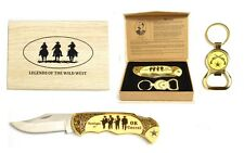 """OK Corral"" Legends of The Wild West Folding Knife with Keyring Bottle Open"