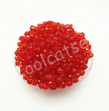 200Pcs 6mm Red Rondelle Acrylic Spacer Loose Beads Bracelet Free Ship