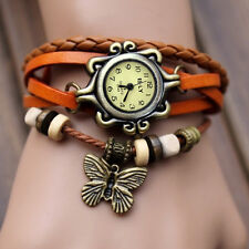 Women Charm Vintage Butterfly Bracelet Faux Leather Quartz Wrist Watch Orange  ^