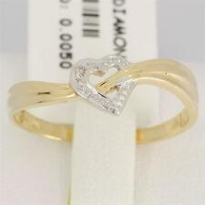 Natural Heart Diamond 9ct 9K 375 Solid Cross Gold Ring - Bravo Jewellery