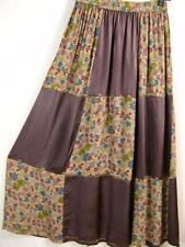 Sk245~Tienda Ho~BROWNS~Patchwork~FESTIVAL~Rayon~FLORAL~Maxi Skirt~OS L 1X?