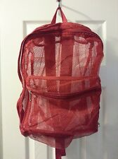 Red Mesh Backpack Bag Summer Beach Tote Travel Gym NWT