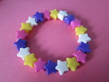 Kitsch Candy Colours Plastic Star Bead Elastic Bracelet Retro Summer Brand New