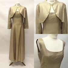 Vintage 1950s Gold Evening Cocktail Dress and Matching Jacket  Size 12 approx