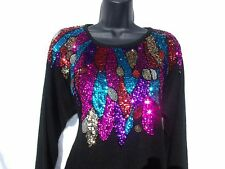 Vtg 80s Sweater S Gladys Bagley Retro Glam Sequined Beaded Silk Angora Wool