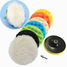 8pcs 6'' Sponge Polishing Waxing Buffing Pads Set Kit Compound Auto Car + Drill