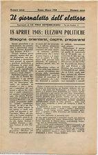 GIORNALETTO DELL'ELETTORE, DE LA VOCE REPUBBLICANA, ROMA, MARZO 1948      m