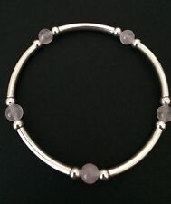 Sterling Silver Rose Quartz Gemstone Beaded Noodle Stretch Valentines Bracelet.