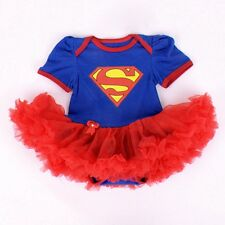 NEW BABY SUPERGIRL size 9 Months Red Blue Onesie with Attached TUTU Outfit 9M