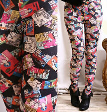 Punk emo URBAN POWER Comic Strip Cartoon Stamp Leggings