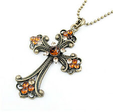Women's Charm Rhinestone Cross Pendant Retro Bronze Plated Long Chain Necklace