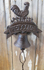 Antique-Style Cast Iron ROOSTER BELL Dinner Windchime Wind Chime Ranch Deck