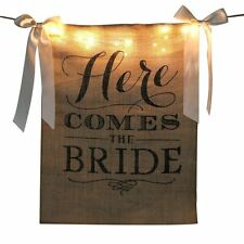 Modern LED Here Comes The Bride Sign Hessian Burlap Rustic Wedding Banner Decor