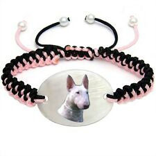 English Bull Terrier Natural Mother Of Pearl Adjustable Knot Bracelet BS278