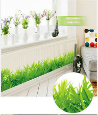 Removable Green Grass Vinyl Wall Stickers Home Decor Kids Room Bathroom Mural
