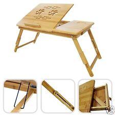 Mesa Auxiliar de Bambú Natural Reclinable para Portatil Cama Sofa Desayuno Cajon