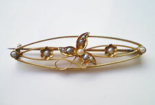 Stunning Antique Edwardian 15ct Gold Pearl set Flower Motif Brooch c1905 in Case