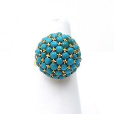 18K Gold Natural Persian Turquoise Domed Sphere Ring Sz 7