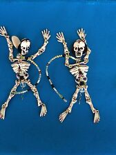 "Spookiest Spook Halloween Skeleton Theme ""Lunch at The Ritz"" Clip-On Earrings"