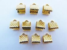 10 6mm GP gold plated ribbon end clamps clasps findings for beads dimpled