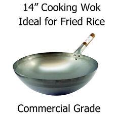 """14 """" (36cm) ROUND cottura Wok-qualità commerciale ideale per ristorante / togliere"""