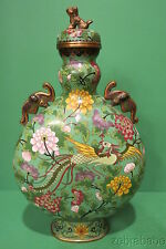 Antique Chinese Cloisonne Covered Urn Vase Foo Dog Bird Paradise Elephants