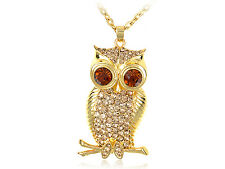Topaz Wide Eye Golden Tone Tree Owl Bird Crystal Rhinestones Pendant Necklace