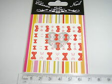 3D Nail tip Art stickers transfer water decals Red & White Bows Spotted XH316