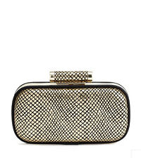 NWT Marciano GUESS Classic MinaudIere Purse Clutch metallic Gold Python print