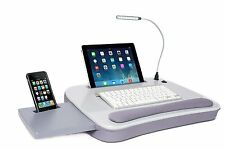 NEW Sofia + Sam Multi Tasking Memory Foam Lap Desk with USB Light (Silver)